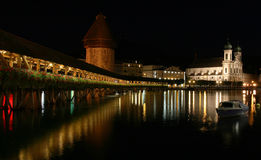 Chapel bridge in Lucerne. Luzern at night, the famous wooden bridge royalty free stock photos