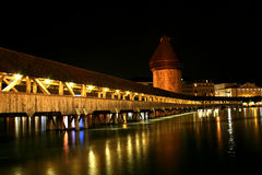 Chapel-Bridge in Lucerne. Digital photo of the famous chapel-bridge in Lucerne in switzerland by night. The bridge was build in the year 1365, it is the oldest Royalty Free Stock Photos