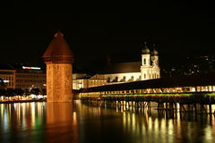 Chapel-Bridge in Lucerne. Digital photo of the famous chapel-bridge in Lucerne in switzerland by night. The bridge was build in the year 1365, it is the oldest Stock Photo