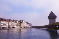 Chapel Bridge Lucerne Stock Photo