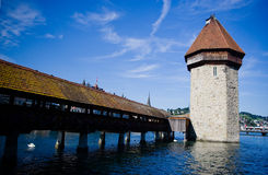 Chapel Bridge,Luzern. What give me most impresson in Luzern is their peace & glorious cityview incl. buidings, sky, colorful addressing of nature,flowers Stock Images