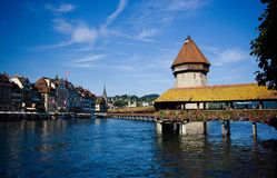 Chapel Bridge,Luzern. What give me most impresson in Luzern is their peace & glorious cityview incl. buidings, sky, colorful addressing of nature,flowers Stock Photos