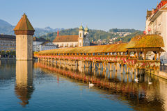 Chapel Bridge in Luzern at sunrise Stock Photo