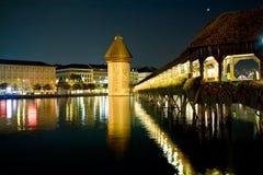 Chapel bridge in Luzerne, Switzerland. Ancient Chapel bridge in Luzerne, Switzerland at night Royalty Free Stock Photos