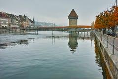 Chapel Bridge over Reuss River, Lucerne Royalty Free Stock Image