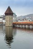 Chapel Bridge over Reuss River, Lucerne, Royalty Free Stock Photo