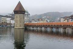 Chapel Bridge over Reuss River, Lucerne, Switzerland Stock Photos
