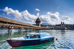 Chapel Bridge over the river Reuss in Lucerne Royalty Free Stock Photography