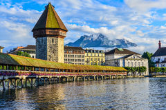 The Chapel Bridge. This is a photo of Chapel Bridge in Switzerland Royalty Free Stock Photography