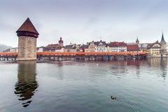 Chapel Bridge and Reuss River, Lucerne Stock Image