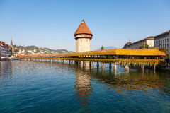 Chapel Bridge on the Reuss River in Luzern Stock Photos