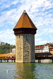 Chapel Bridge Tower in Lucerne, Switzerland Royalty Free Stock Image