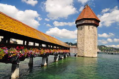Chapel Bridge tower in Luzern Royalty Free Stock Photos