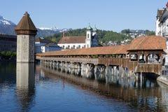 Chapel Bridge with Wasserturm Lucerne Stock Image