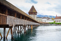 Old Lucerne city, central Switzerland. Chapel Bridge with Water Tower, a fortification from the 13th century in old Lucerne city, central Switzerland Stock Photo