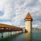 Chapel Bridge & Water Tower, Lucerne, Switzerland Stock Image