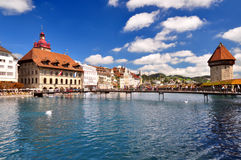Chapel Bridge and Water Tower in Luzern Royalty Free Stock Photo