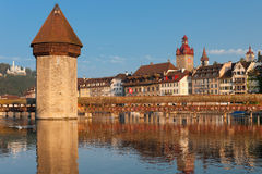 Chapel Bridge and Water Tower in Luzern Stock Photos