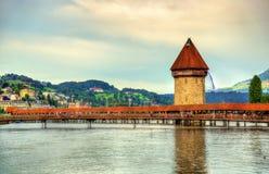 Chapel Bridge and Water Tower in Luzern, Switzerland Stock Image