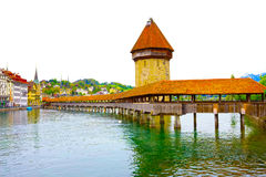 Chapel Bridge and Water Tower in Luzern - Switzerland Royalty Free Stock Image