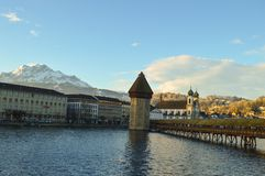 Chapel Bridge and Water Tower in Luzern, Switzerland stock photo