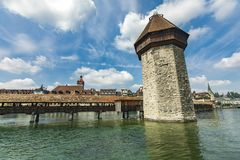 Chapel bridge and Water tower on Reuss river in Lucerne Royalty Free Stock Images