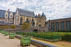Chapel of Chateau Angers in Loire Valley of France. Chapel of Chateau Angers and garden in Maine et Loire department of Pays de la Loire region, Loire Valley, of stock images