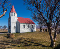 Chapel and churchyard with tree and shadow in Glaumbaer Stock Photo