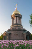 Chapel in the city of Sankt- Petersburg against the blossoming tulips Royalty Free Stock Image