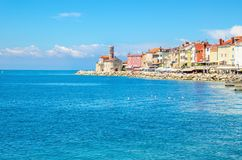 Chapel and colorful houses on the pier, Piran, Slovakia, Europe Royalty Free Stock Photos