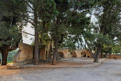Chapel courtyard in Crete Island Royalty Free Stock Photos