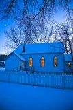 Chapel Covered In Snow Stock Photo