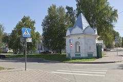 Chapel of Cyril of Novoyezersky at the crossroads of Dzerzhinsky and Sovetsky Prospekt in Belozersk. Belozersk, Vologda region, Russia - August 10, 2015: Chapel Stock Photo