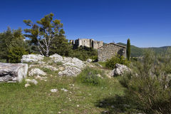 |Chapel De Notre Dame and the Chateaux De Bargeme, Bargeme, The Var, France Stock Image