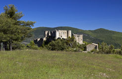 Chapel De Notre Dame and the Chateaux De Bargeme, Bargeme, The Var, France Stock Photos