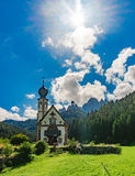 Chapel in the Dolomites. Italy stock images