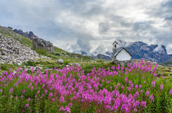 Chapel in the Dolomites. Italy royalty free stock images