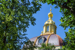 Chapel dome surrounded by trees in St. Petersburg, Russia Royalty Free Stock Photography