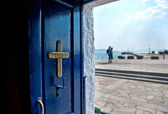Chapel door. View from the Chapel in the harbor of Egina, Greece Royalty Free Stock Photography