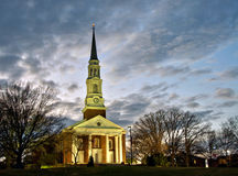 Chapel at dusk. A late evening view of the illuminated Memorial Chapel on the campus of the University of Maryland in College Park, Maryland Stock Image
