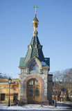 Chapel of the Epiphany Savior on Waters the winter sunny day. Kronstadt Stock Images