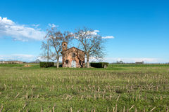 Chapel among fields, Lomellina (Italy) Stock Photos