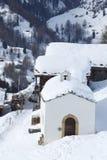 Chapel Findeln. Chapel in Village Findeln with wooden houses near Zermatt Royalty Free Stock Images