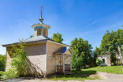 Chapel of Florus and Laurus, Myshkin, Russia. MYSHKIN, RUSSIA - JUNE 18, 2017: Small wooden chapel of Florus and Laurus. Built in the 19th century. Place of book Royalty Free Stock Photos