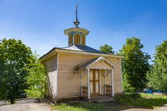 Chapel of Florus and Laurus, Myshkin, Russia. MYSHKIN, RUSSIA - JUNE 18, 2017: Small wooden chapel of Florus and Laurus. Built in the 19th century. Place of book Stock Photography