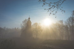 Chapel in the fog. Mysterious chapel in the fog Royalty Free Stock Photo