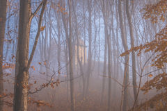 Chapel in the fog. Mysterious chapel in the fog Royalty Free Stock Images