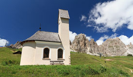 Chapel in Gardena pass Stock Image