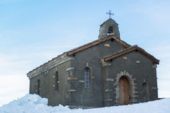 Chapel at Gornergrat station in Swiss Alps Royalty Free Stock Photography