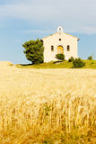 Chapel with grain field Stock Images